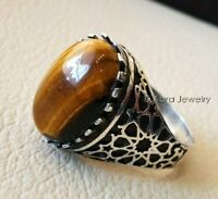 Solid 925 Sterling Silver Natural Brown Tiger Eye Gemstone  Mens Ring 229