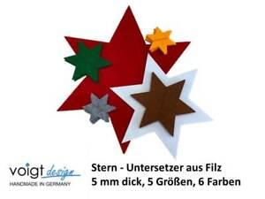 Stern Untersetzer FILZ 5 Größen Weihnachten Dekoration Glas Tisch 6 Farben