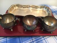 Vintage Silver Plated  sugar and creamer Set with Serving Tray (4 Pieces)