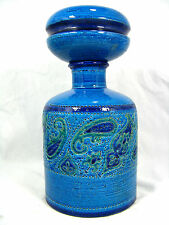 "Rare Aldo Londi "" Paisley "" design Bitossi pottery bottle with lid Italy 29,5 cm"