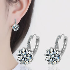 Women's Exquisite 925 Sterling Silver Sparkling Cut AAA CZ Round Hoop Earrings