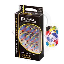 Royal 24 Candy Full Nail Tips Set with 3g Glue - Rainbow Splatter Pre-designed