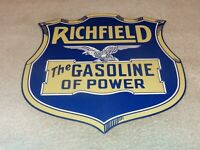 "VINTAGE RICHFIELD THE GASOLINE OF POWER  +EAGLE 11 3/4"" PORCELAIN METAL OIL SIGN"