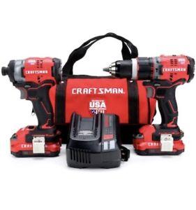 CRAFTSMAN CMCK220D2 ~ V20 20V 20 V Max Brushless Power Tool Combo Kit ~ USA!