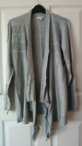 Fat Face Drape Cardigan Size 14 Grey Marl Cotton with embroidery