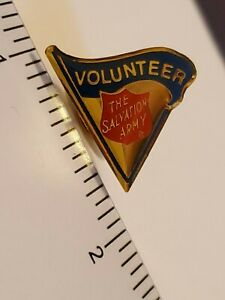 Vintage The Salvation Army  Volunteer Red, Blue and Gold Lapel Pin Tie Tac New
