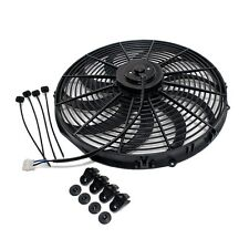 "Universal 16"" Radiator Electric Cooling Fan Curved S-Blade Reversible Muscle Car"