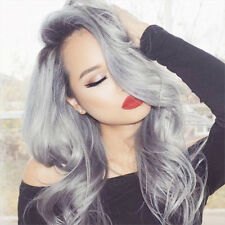 """22""""Ombre Gray Long Straight Wig Natural Synthetic Hair Lace Front Wigs For Women"""