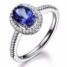 14kt White or Yellow Gold Halo Diamond Ring Natural Tanzanite Oval 1.40cts Gem