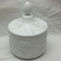 Vintage Imperial Milk Glass Grape Vine Pattern Covered Candy Dish