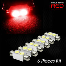 (6 pcs) RED 36mm LED Festoon Light Bulb Interior Dome Map Lamp DE3423 6418 3425