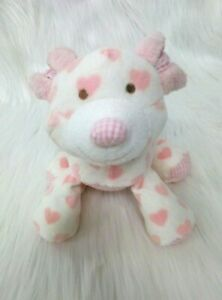 """9"""" K-mart Puppy Dog Lovey & Rattle Baby Plush Pink Hearts Gingham Toy B206"""