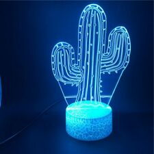 3D Cactus Night Light 7 Color Change LED Desk Lamp Touch Room Decor Gift