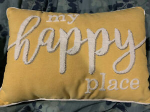 Throw Pillow My Happy Place Decorative 14 in. x 20 in. Soft Chenille Yellow
