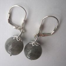 Labradorit Ohrschmuck Ohrringe mit Klappbrisur 12 mm Edelstein-Kugel 925 Silber