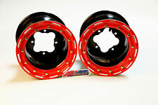 "DWT G3 Black Red Rear Beadlock Rims Wheels 9"" 4/110 Suzuki LTR450 LTZ400 Z400"