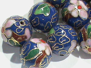 High Quality ViINTAGE &  BIG 14.5 MM Cloisonne Beads Round BLUE w/ Flowers 15 Pc