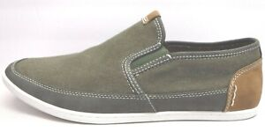 Steve Madden Size 13 Olive Canvas Loafers New Mens Shoes
