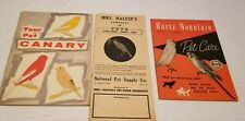Vintage Birds Pet care Cage Dogs Fish Pamphlet Books Mixed lot of 3
