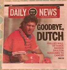 Darren Daulton Newspaper Philadelphia Phillies Daily News 8/7/17 Goodbye Dutch