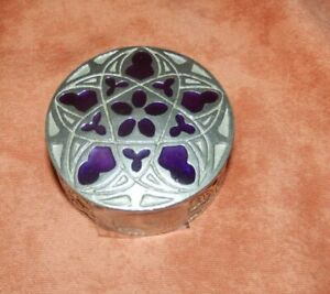 Beautiful silver tone metal trinket pot with purple inlay on lid.