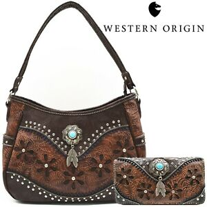 Western Handbag Concealed Carry Purse Feather Women Shoulder Bag Wallet Coffee