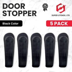 5X DOOR STOP STOPS STOPPERS WEDGE WEDGES BLACK JAMMER
