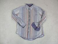 Robert Graham Button Up Shirt Adult Extra Large Purple Brown Striped Flip Cuff