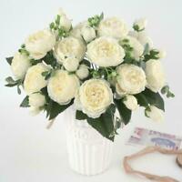 Artificial Silk Rose Peony Flower Wedding Bouquet Home Decor Party Z4M4