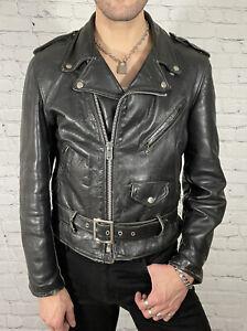 Black Leather Biker Jacket 44 USUK 1980s European Vintage Zip Up Motorcycle Perfecto Style Size XL