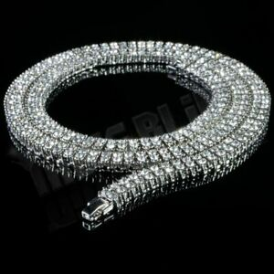14K White Gold 2 Row Flooded Out Iced Lab Diamond Chain Hip Hop Tennis Necklace
