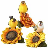 Sunflower Birds and Flower Figurines Set Of 3 Home Accent Decor Holiday Gift new
