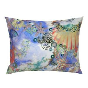 Beach Blue Maximalist Swim Starfish Abstract Purple Pillow Sham by Roostery