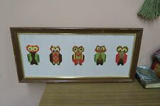 "Vintage Hand Made Stitched Needlepoint Framed 9"" x 21"" - 11"" x 24"" Owls Family"