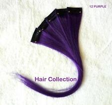 """Purple - 12"""" Human Hair Clip On In Extensions for Highlights (5pcs)"""