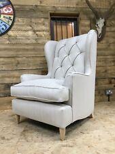 Arlo & Jacob Berkeley wing arm chair cream linen antique country house Hamptons