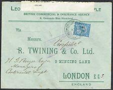 British Levant 1919 Cover Constantinople-London KGV 1 1/2d Blue British Army PO