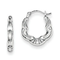 925 Sterling Silver Rhodium Plated Hollow Scalloped Hinged Post Hoop Earrings