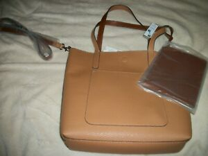 Brown Tote Bag (Faux Leather) with Removable Zip Pouch & Shoulder Strap