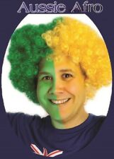 Aussie JUMBO AFRO WIG Green Yellow AUSTRALIA Commonwealth Olympic Carnival Party