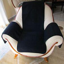 Housse de fauteuil, Coussin de chaise, jeté , laine mérinos noir avec poches