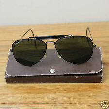 Genuine Vintage 1990s Ray Ban Aviator Sunglasses Black Frame Flexi Around Ear