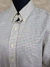 Ralph Lauren Size L Mens Long Sleeve Custom Fit Button Up Ivory Short Squares