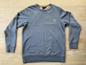 Men's Paul Smith Zebra Motif Heavyweight Grey Cotton Sweatshirt Size Medium