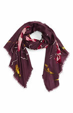 Nordstrom Expressionist Floral Print Scarf Burgundy Combo Delicate Wool NEW