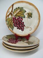 """Tabletops Gallery Napa Red 11 1/4"""" Dinner Plates Set Of 4 Plates GC Hand Painted"""