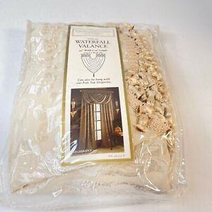 Croscill waterfall valance curtain white cream floral 45x34 highbridge