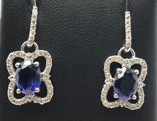 Sterling Silver Oval Blue Tanzanite CZ Cluster / Bail Drop Dangle Post Earrings