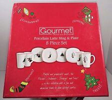 Fitz & Floyd Gourmet 2007 Christmas 8 Piece Porcelain Latte Mug & Plate Set Nib