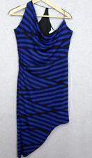 Bar III Womens Assymetric Blue Black Striped Dress Size Large Halter